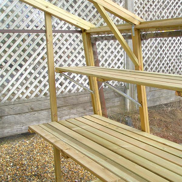 Easy woodworking projects plans diy wooden garden benches - Wooden staging for greenhouse ...