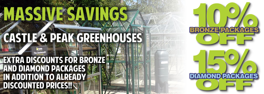 Castle and Peak Greenhouses - 10% Off Bronze packages & 15% Off Diamond packages