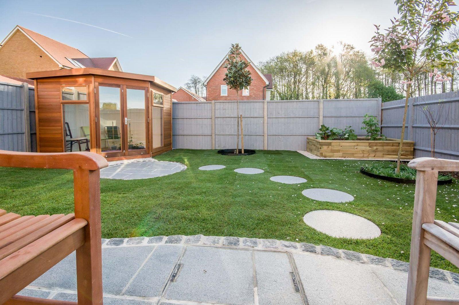 Malvern Corner Studio Pent in a garden setting