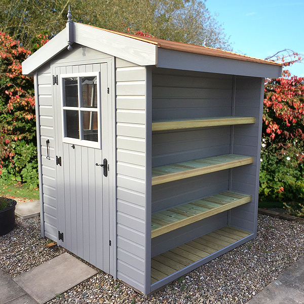 The Malvern Lincomb shed, featuring integral shelves.