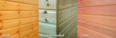 Timber cladding options: Deal, Pressure Treated, Cedar