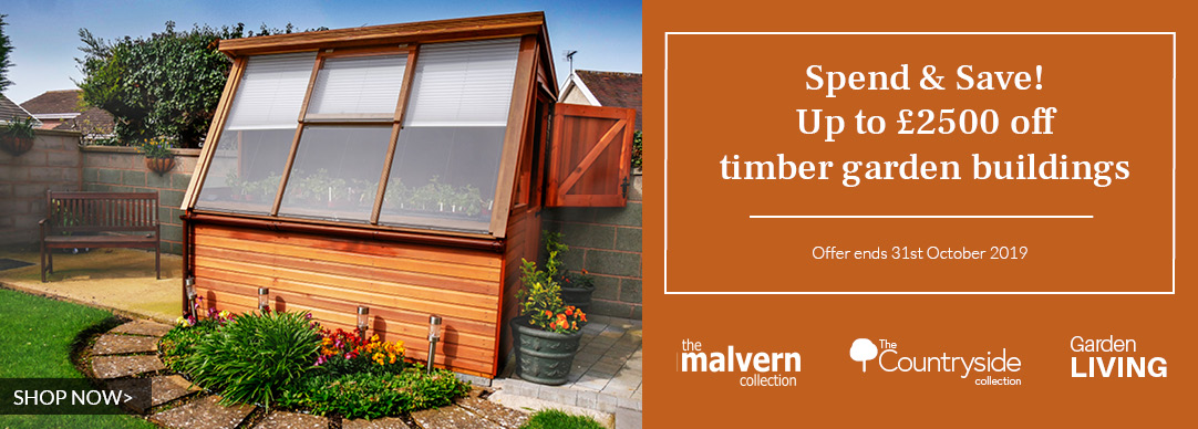 Spend and Save! Up to £2500 off timber garden buildings!