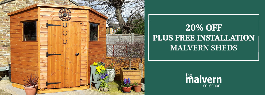 Free Installation and 20% off Malvern Timber Sheds | GBC Group