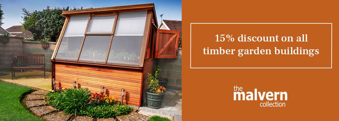 15% OFF timber garden buildings!