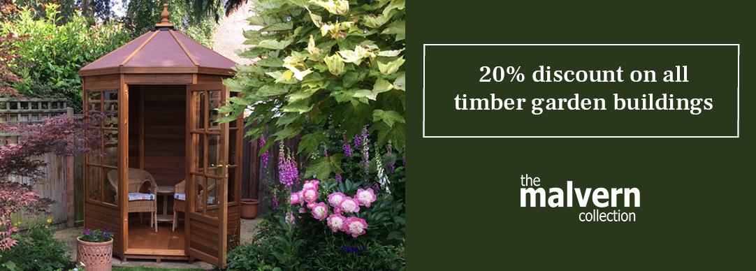 20% OFF timber garden buildings!