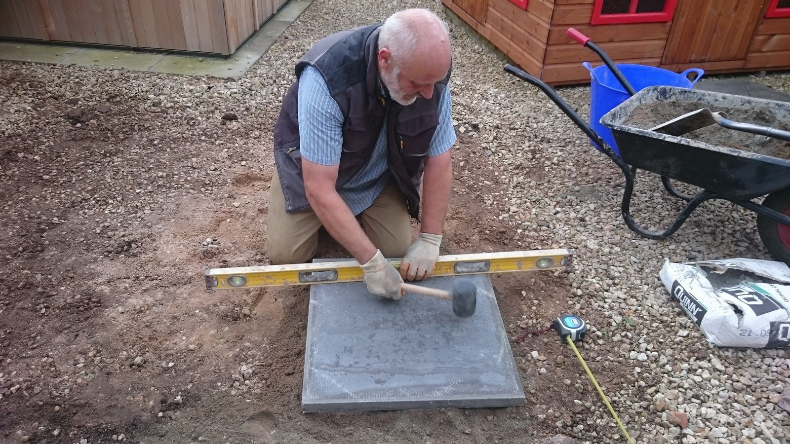 shed base area being levelled