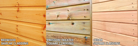 Timber cladding options: Redwood, Pressure Treated, Cedar