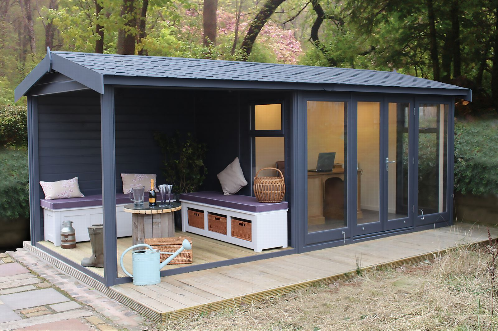 A Malvern Garden Office painted in a contemporary grey colour