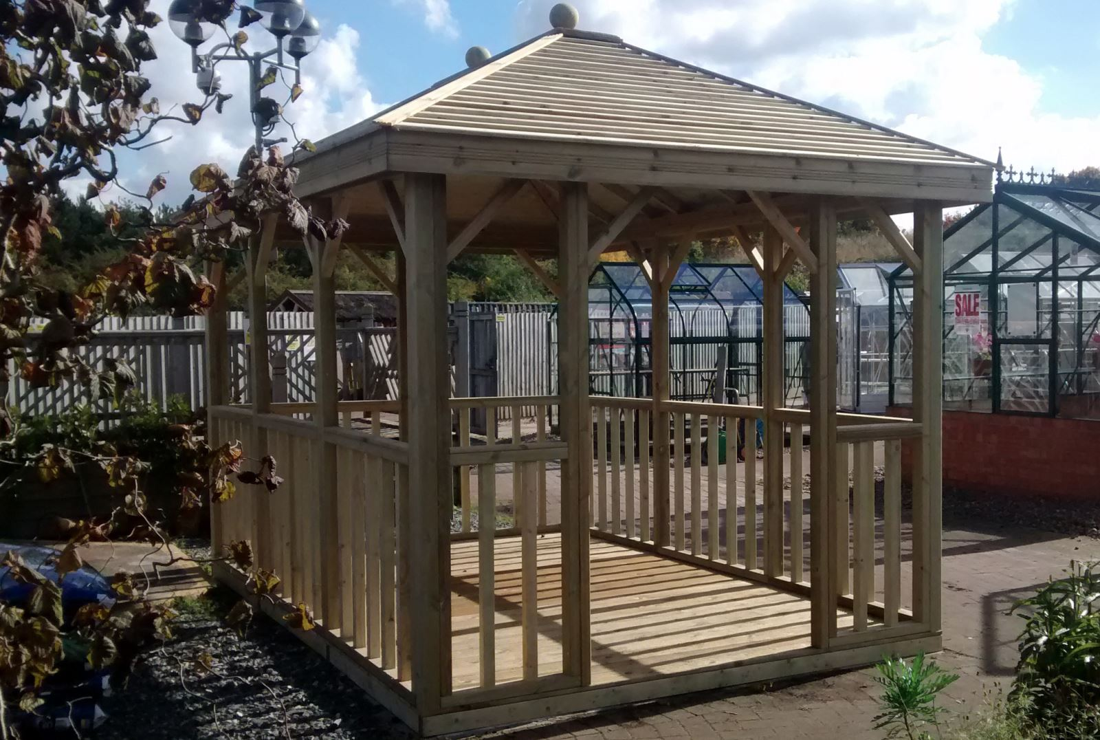 A gazebo like this Malvern Hanbury provides ideal shelter in rainy weather!
