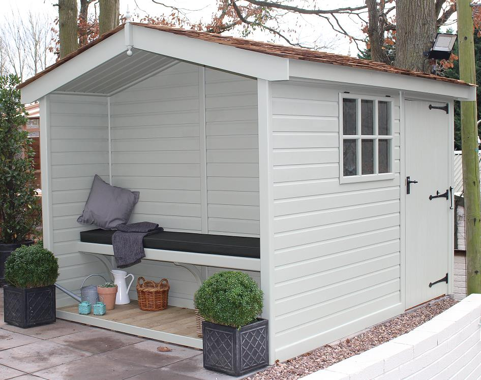 Shed with integral bench