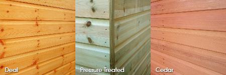 Timber cladding options: Deal, Pressure Treated, Cedar