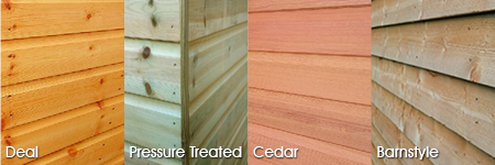 Timber cladding options: Deal, Pressure Treated, Cedar, Barnstyle